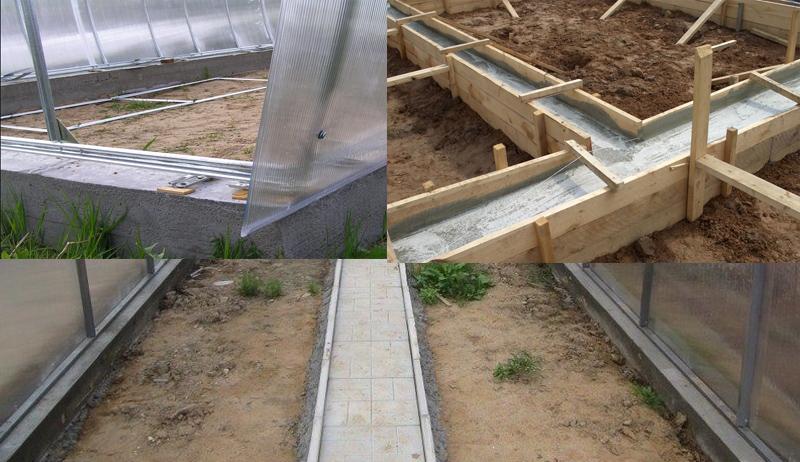 Довольно часто при возведении теплицы применяется ленточное бетонное основание, которое служит долгие годы