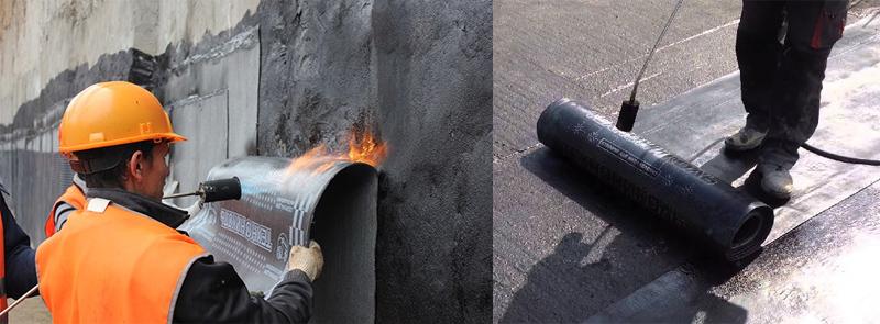 Для защиты дома от проникновения влаги, используется оклеечная гидроизоляция, это, наверное, самый распространенный применяемый способ