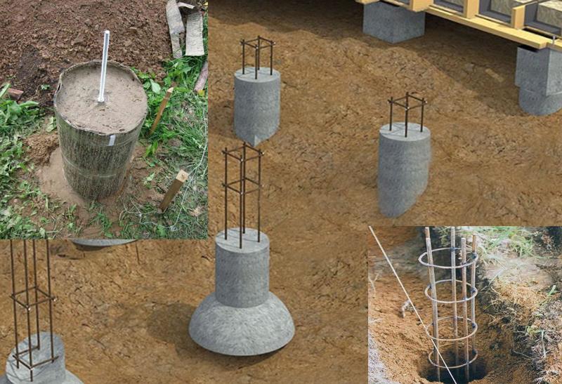 Для каркасного строения можно использовать столбчатый фундамент, который можно сделать самому