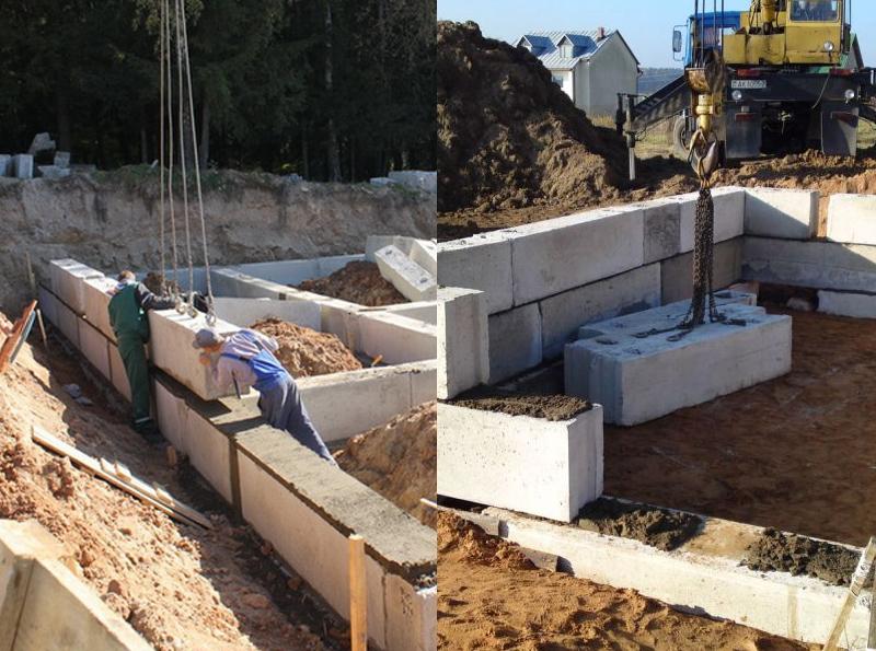 При укладке бетоноблоков, в любом случаи понадобится подъемный кран или передвижная лебедка
