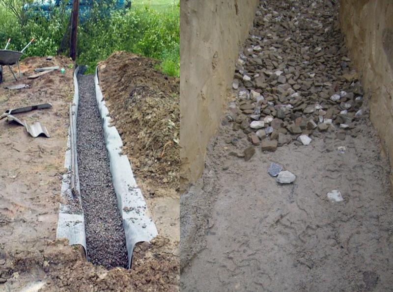 Для создания дренажной системы под фундамент, из бетонных брикетов, отлично подойдет щебень