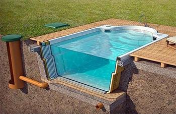 ставим бассейн на монолитную плиту